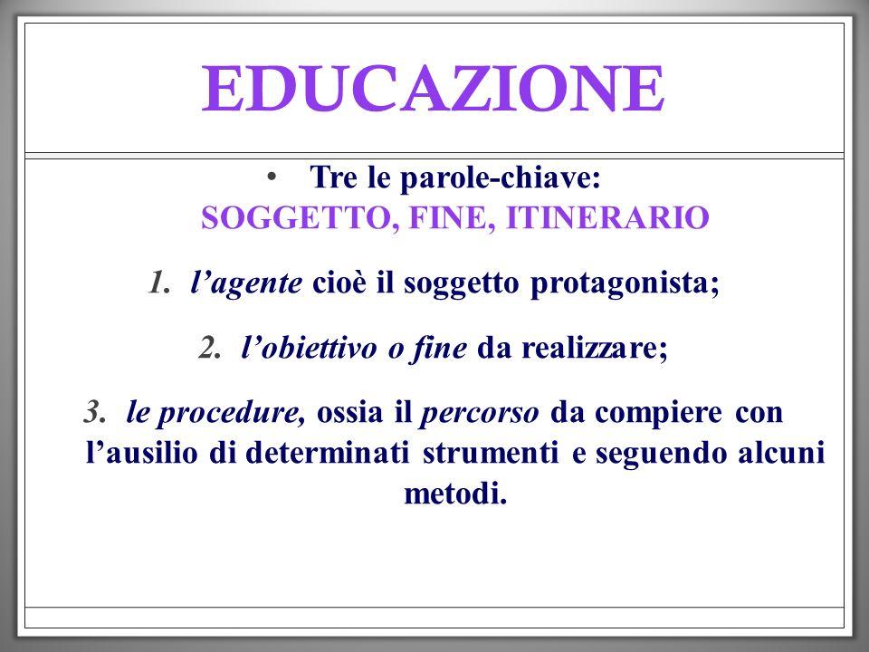 EDUCAZIONE Tre le parole-chiave: SOGGETTO, FINE, ITINERARIO