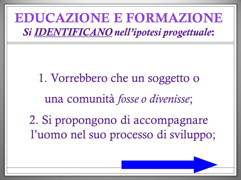 EDUCAZIONE E FORMAZIONE Si IDENTIFICANO nell'ipotesi progettuale: