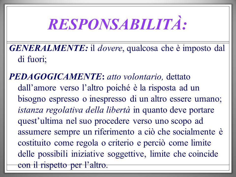 RESPONSABILITÀ: GENERALMENTE: il dovere, qualcosa che è imposto dal di fuori;