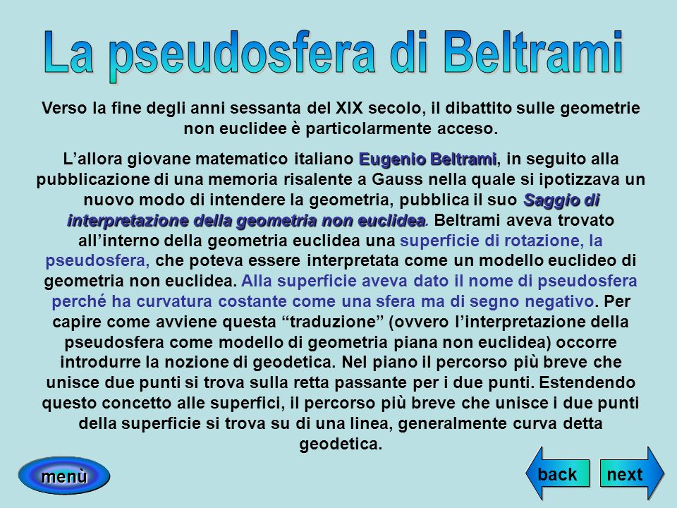 La pseudosfera di Beltrami