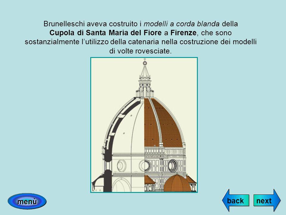 Brunelleschi aveva costruito i modelli a corda blanda della Cupola di Santa Maria del Fiore a Firenze, che sono sostanzialmente l'utilizzo della catenaria nella costruzione dei modelli di volte rovesciate.