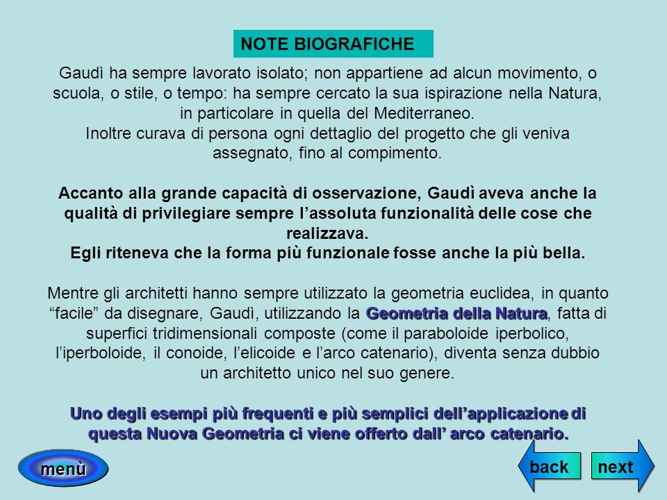 NOTE BIOGRAFICHE back next menù