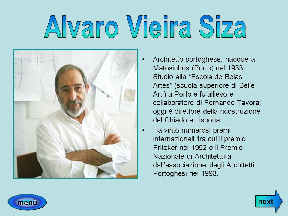Alvaro Vieira Siza next menù