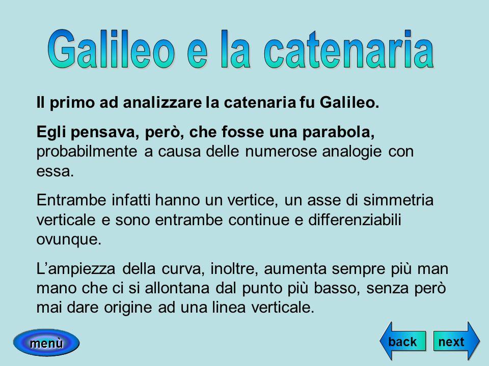 Galileo e la catenaria Il primo ad analizzare la catenaria fu Galileo.