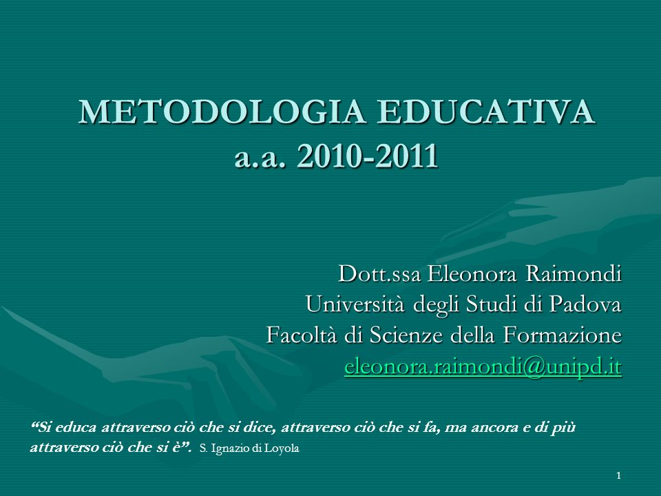 METODOLOGIA EDUCATIVA a.a. 2010-2011