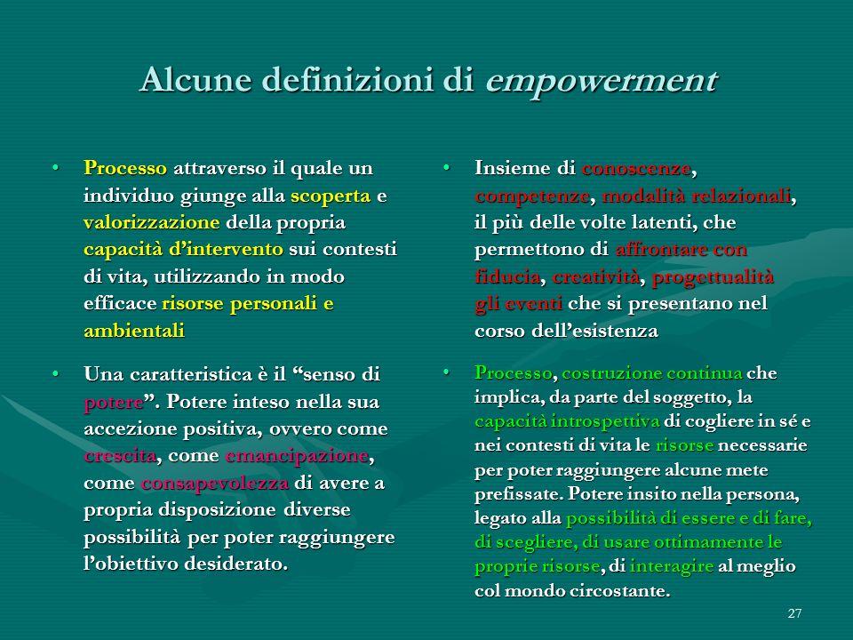 Alcune definizioni di empowerment