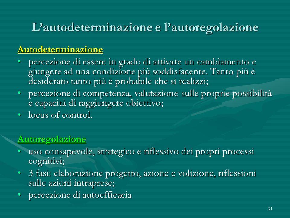 L'autodeterminazione e l'autoregolazione