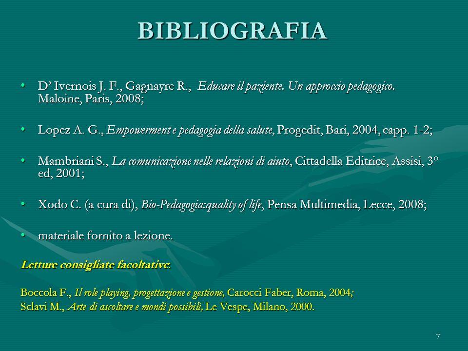 BIBLIOGRAFIA D' Ivernois J. F., Gagnayre R., Educare il paziente. Un approccio pedagogico. Maloine, Paris, 2008;