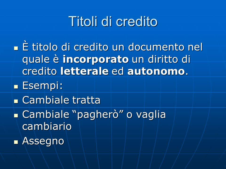 Titoli di credito È titolo di credito un documento nel quale è incorporato un diritto di credito letterale ed autonomo.
