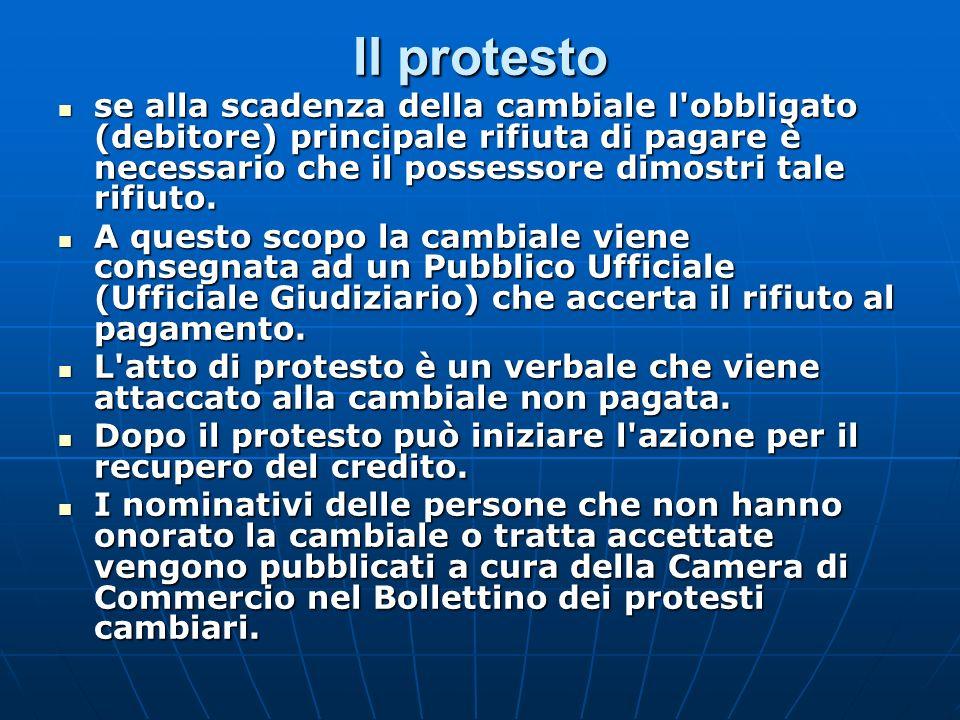 Il protesto se alla scadenza della cambiale l obbligato (debitore) principale rifiuta di pagare è necessario che il possessore dimostri tale rifiuto.