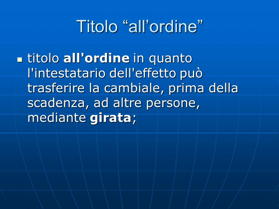 Titolo all'ordine
