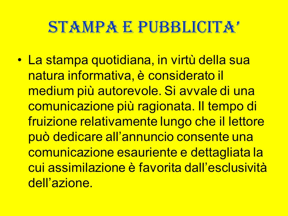STAMPA E PUBBLICITA'