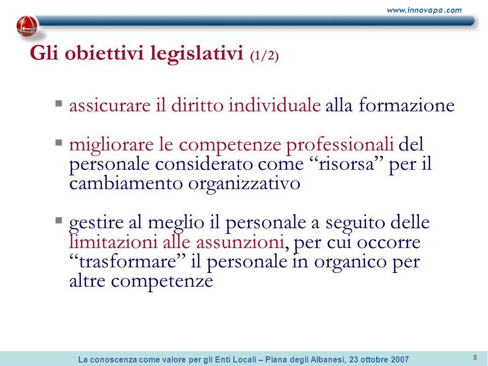 Gli obiettivi legislativi (1/2)