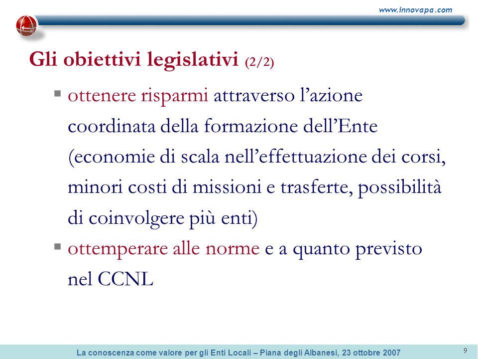 Gli obiettivi legislativi (2/2)
