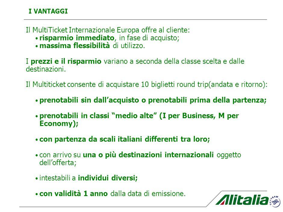 Il MultiTicket Internazionale Europa offre al cliente:
