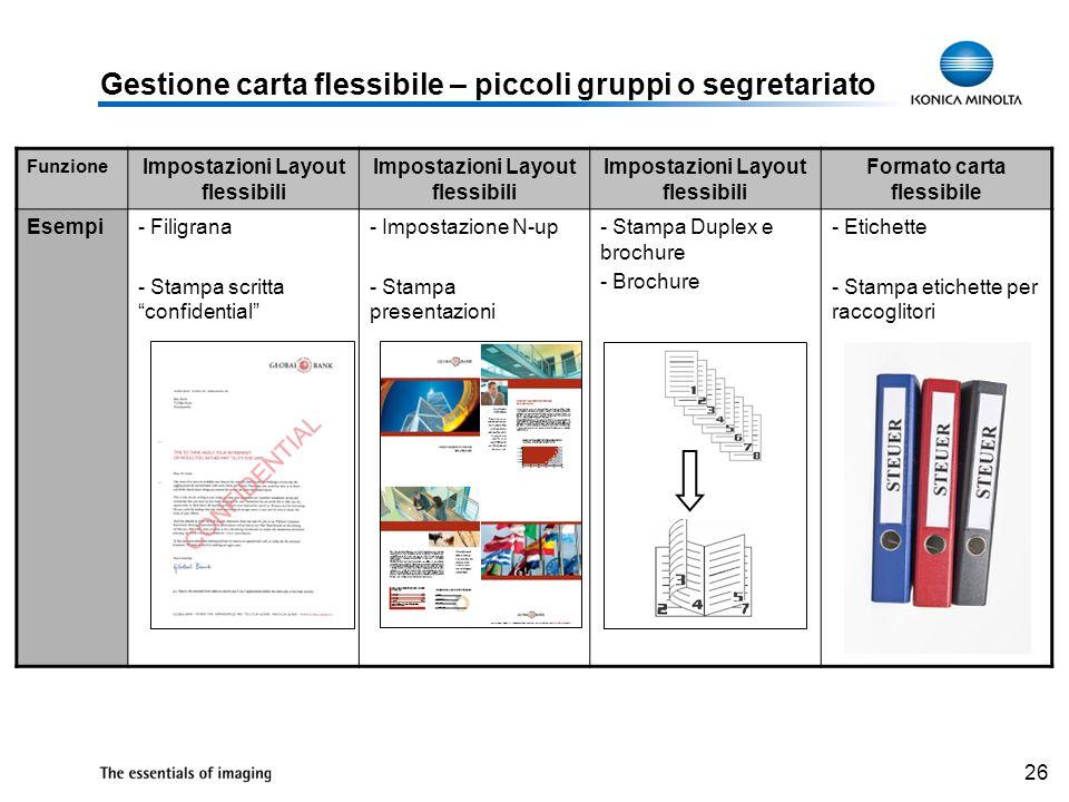 Gestione carta flessibile – piccoli gruppi o segretariato