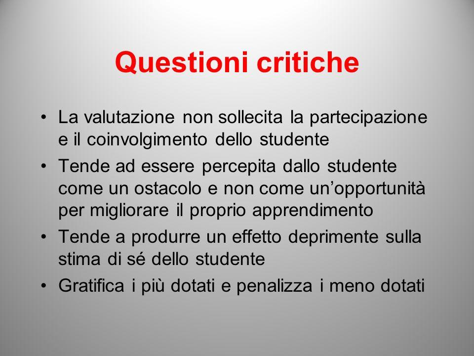 Questioni critiche La valutazione non sollecita la partecipazione e il coinvolgimento dello studente.