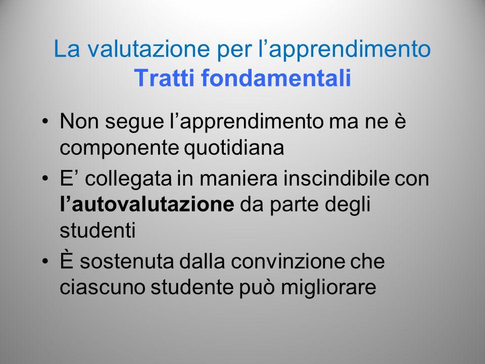 La valutazione per l'apprendimento Tratti fondamentali