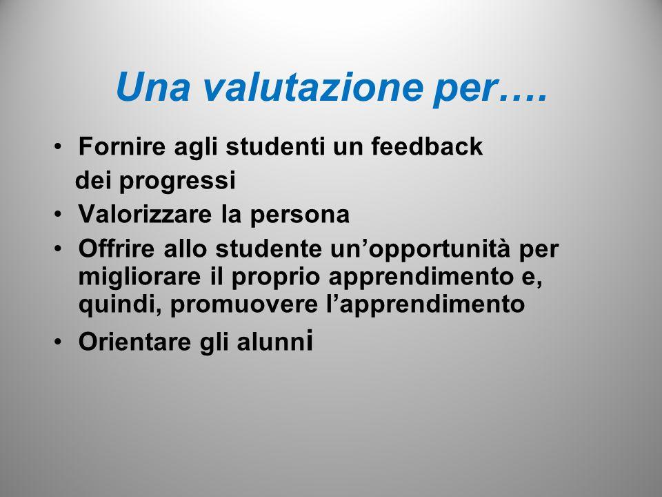 Una valutazione per…. Fornire agli studenti un feedback dei progressi