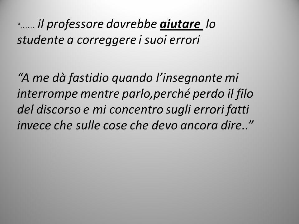 …… il professore dovrebbe aiutare lo studente a correggere i suoi errori