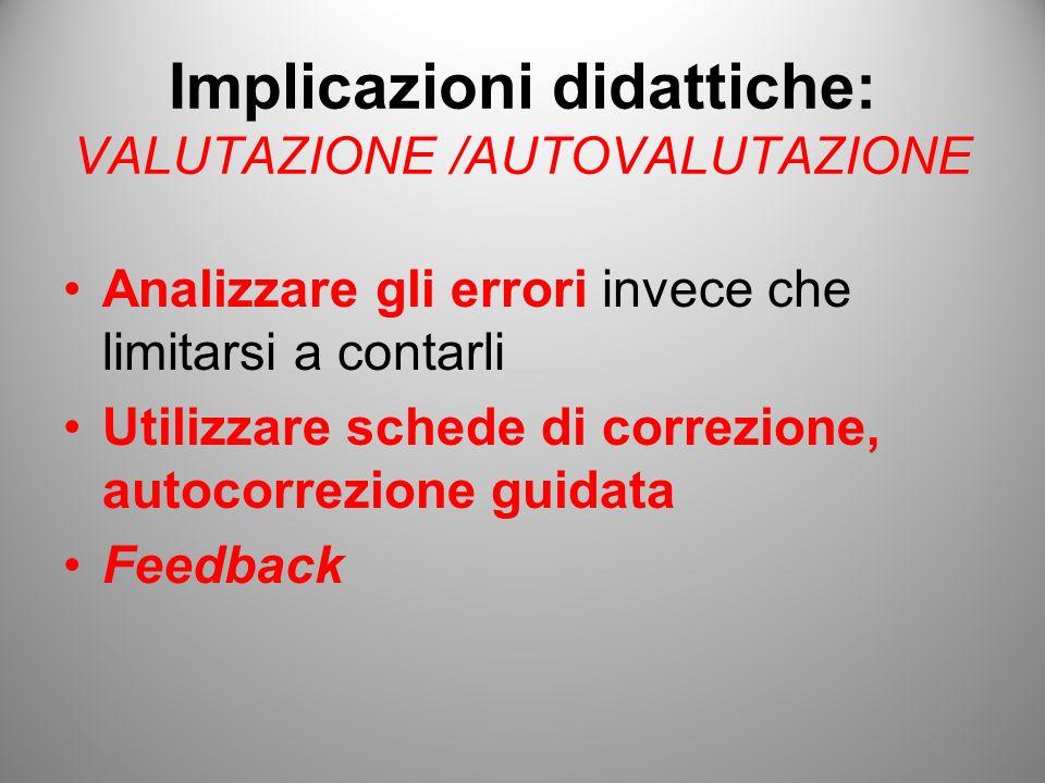 Implicazioni didattiche: VALUTAZIONE /AUTOVALUTAZIONE