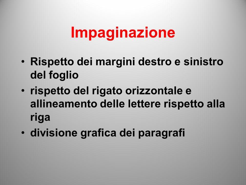 Impaginazione Rispetto dei margini destro e sinistro del foglio