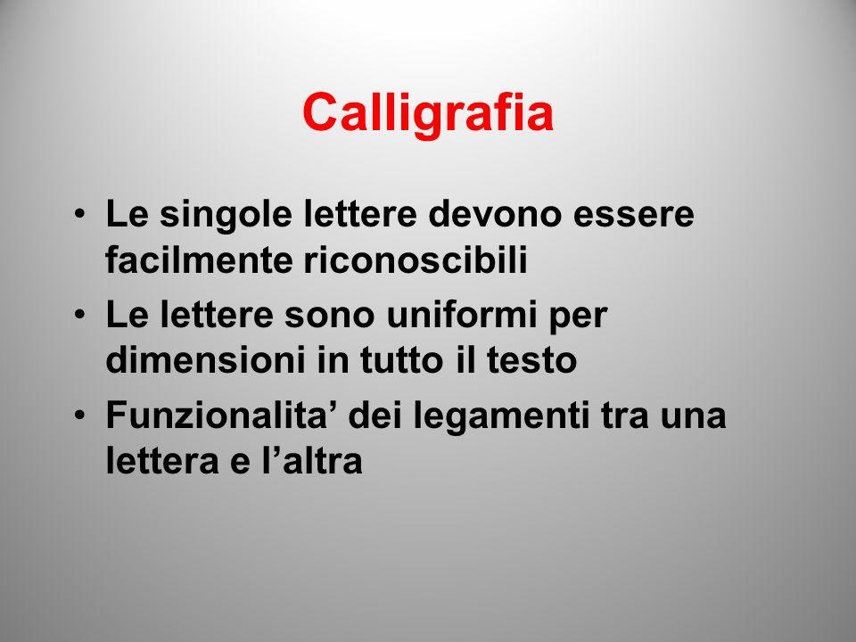 Calligrafia Le singole lettere devono essere facilmente riconoscibili