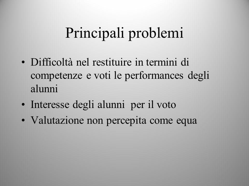 Principali problemi Difficoltà nel restituire in termini di competenze e voti le performances degli alunni.