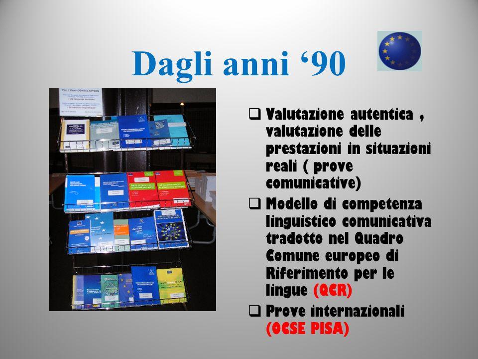 Dagli anni '90 Valutazione autentica , valutazione delle prestazioni in situazioni reali ( prove comunicative)