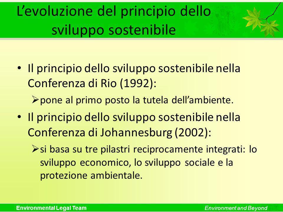 L'evoluzione del principio dello sviluppo sostenibile