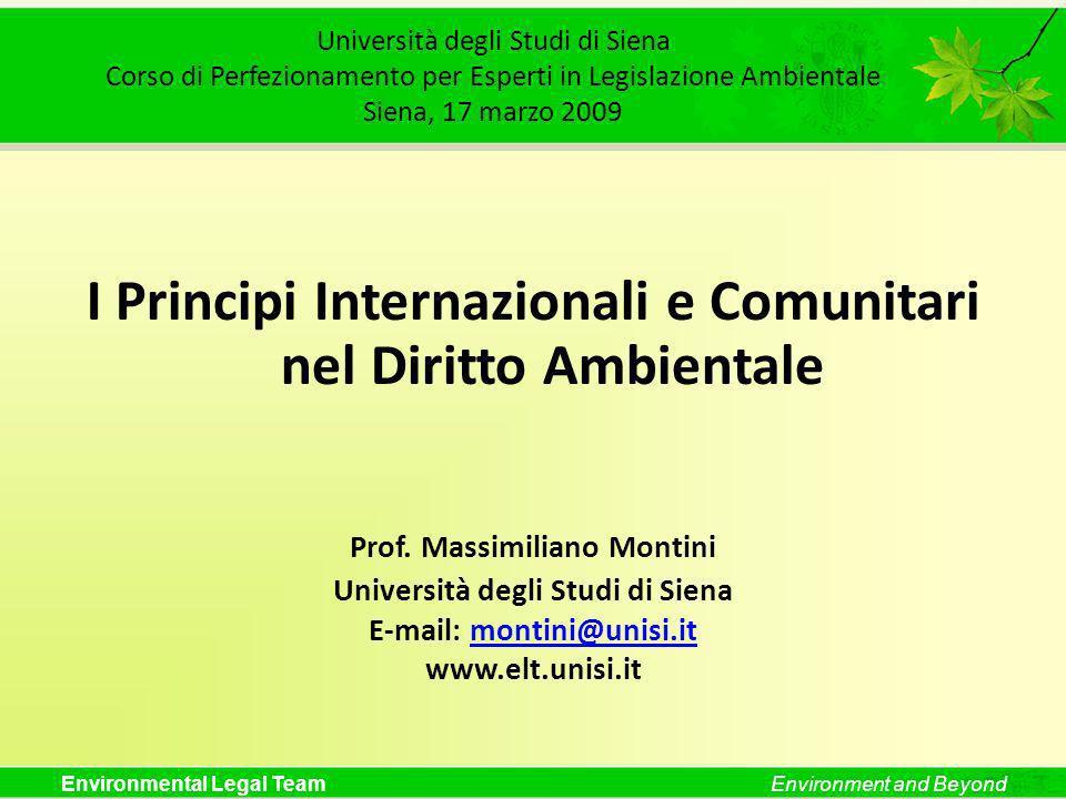 I Principi Internazionali e Comunitari nel Diritto Ambientale