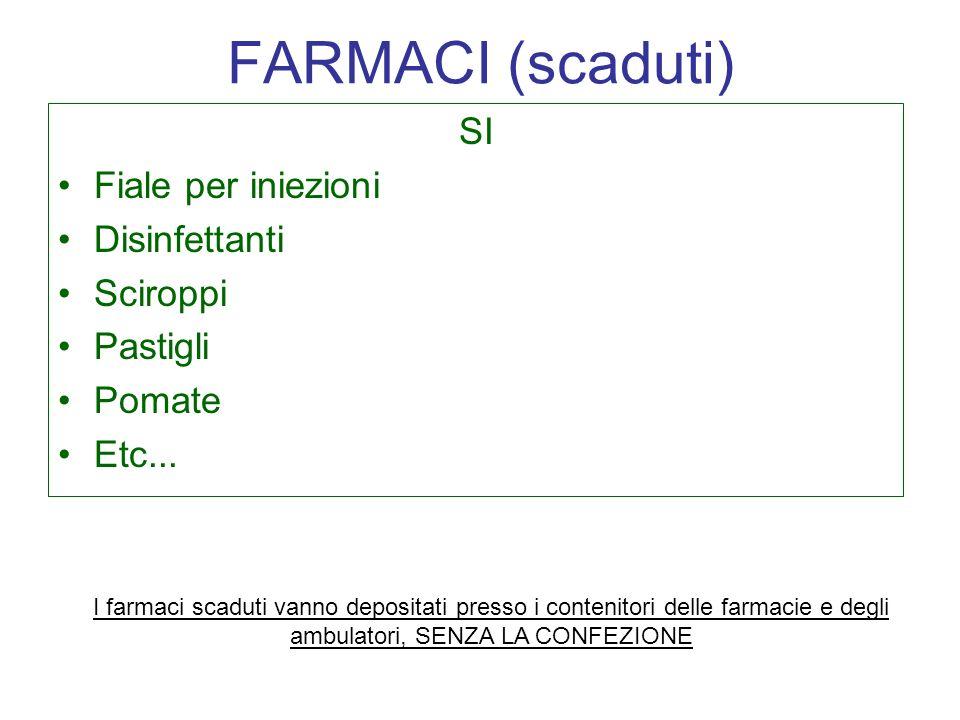 FARMACI (scaduti) SI Fiale per iniezioni Disinfettanti Sciroppi
