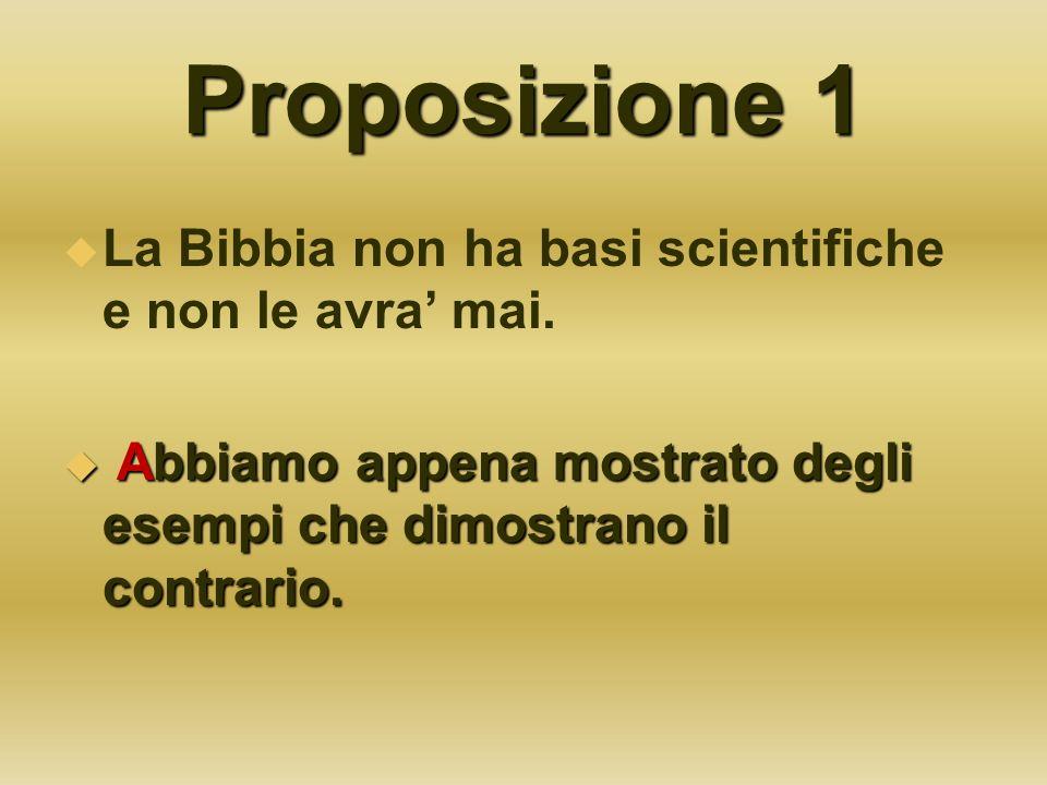 Proposizione 1 La Bibbia non ha basi scientifiche e non le avra' mai.