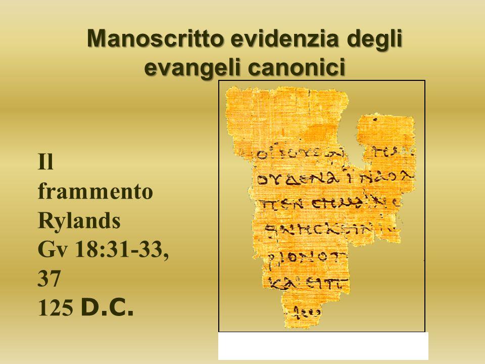 Manoscritto evidenzia degli evangeli canonici