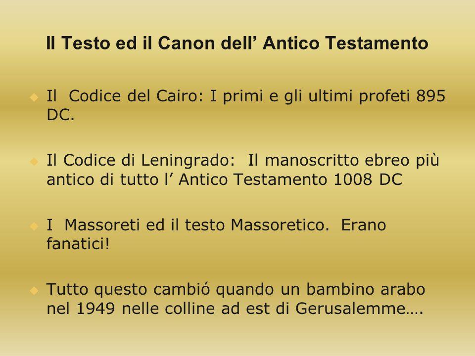 Il Testo ed il Canon dell' Antico Testamento