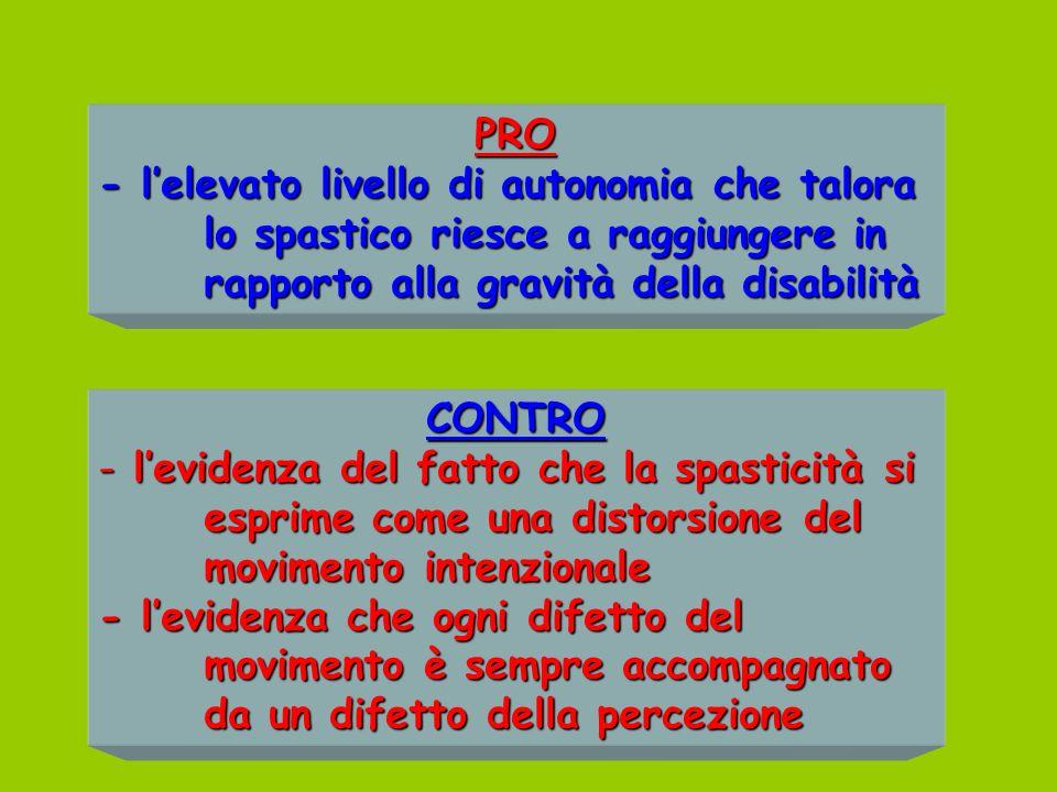 PRO - l'elevato livello di autonomia che talora lo spastico riesce a raggiungere in rapporto alla gravità della disabilità.
