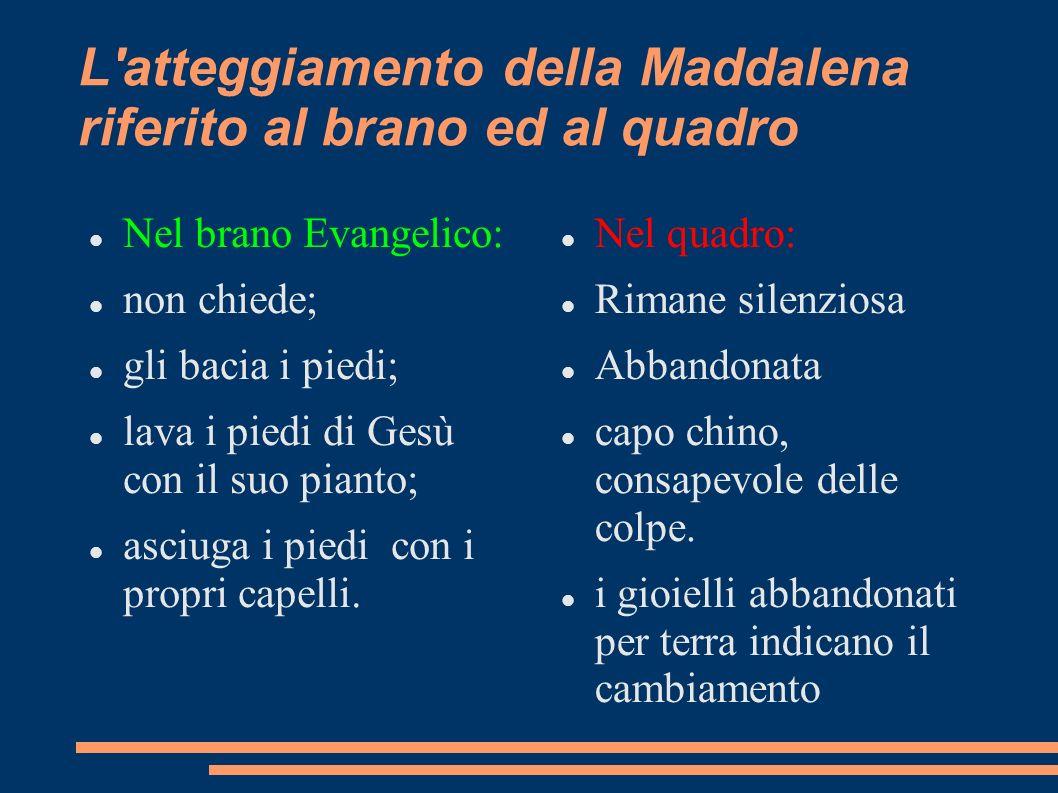 L atteggiamento della Maddalena riferito al brano ed al quadro
