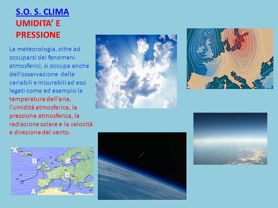 S.O. S. CLIMA UMIDITA' E PRESSIONE