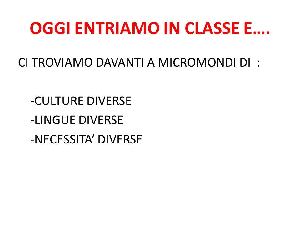 OGGI ENTRIAMO IN CLASSE E….