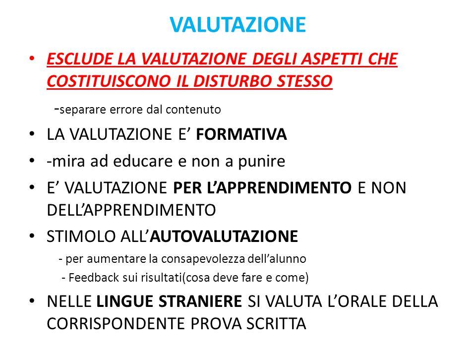 VALUTAZIONE ESCLUDE LA VALUTAZIONE DEGLI ASPETTI CHE COSTITUISCONO IL DISTURBO STESSO. -separare errore dal contenuto.