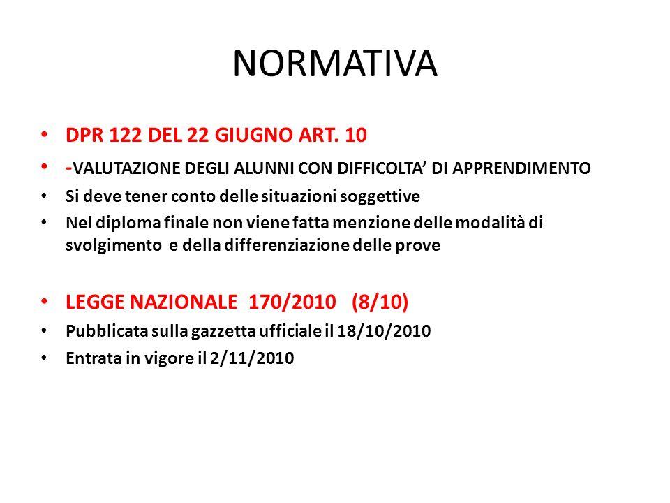 NORMATIVA DPR 122 DEL 22 GIUGNO ART. 10