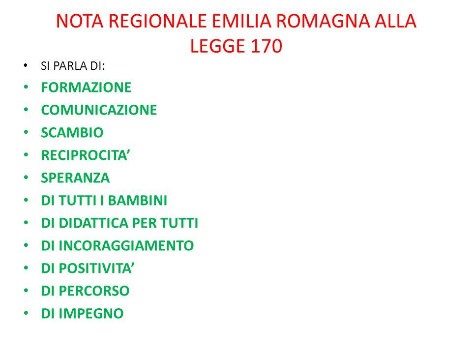 NOTA REGIONALE EMILIA ROMAGNA ALLA LEGGE 170