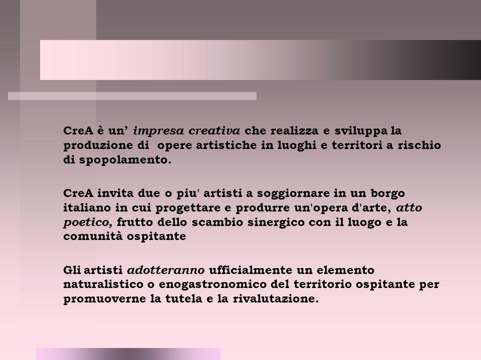 CreA è un' impresa creativa che realizza e sviluppa la produzione di opere artistiche in luoghi e territori a rischio di spopolamento.