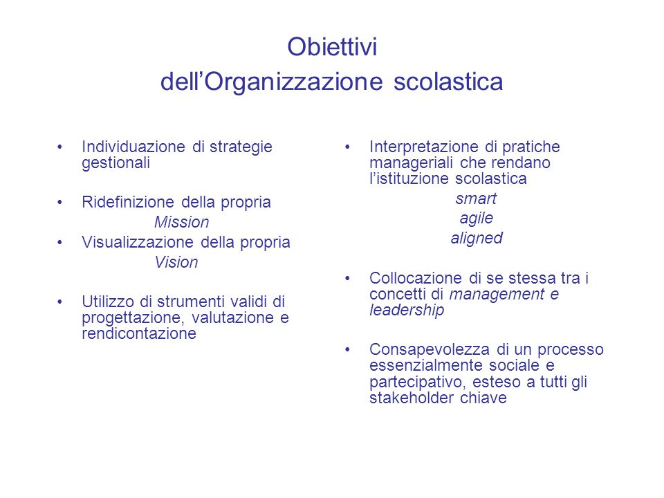 Obiettivi dell'Organizzazione scolastica