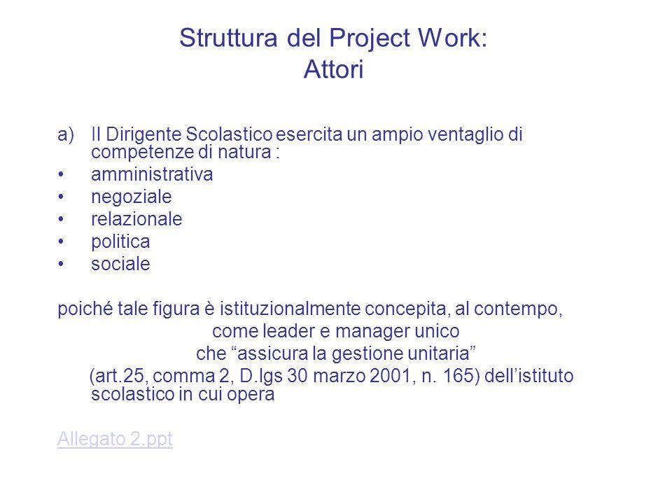 Struttura del Project Work: Attori