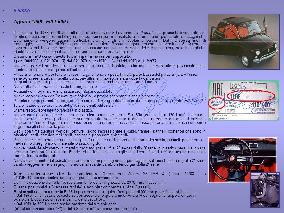 Fiat 500 fans club Il lusso Agosto 1968 - FIAT 500 L