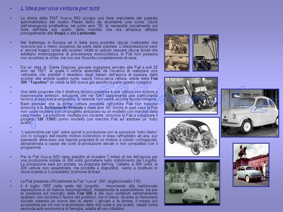 Fiat 500 fans club L'idea per una vettura per tutti