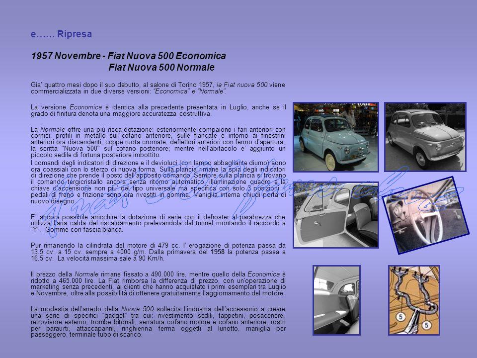 Fiat 500 fans club 1957 Novembre - Fiat Nuova 500 Economica