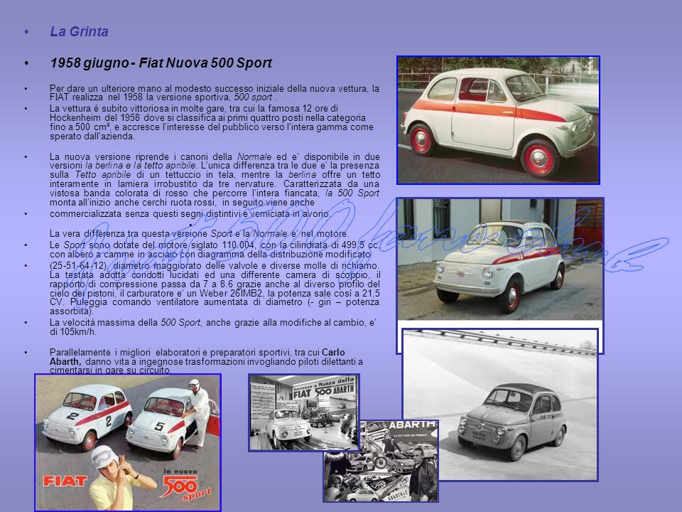 Fiat 500 fans club La Grinta 1958 giugno - Fiat Nuova 500 Sport