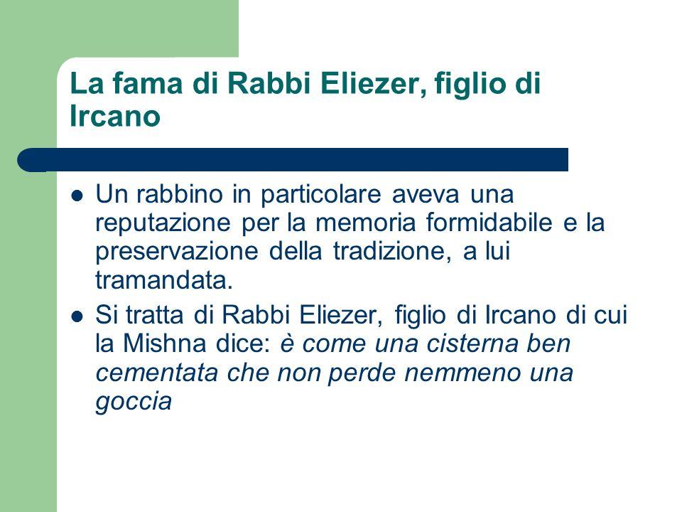 La fama di Rabbi Eliezer, figlio di Ircano